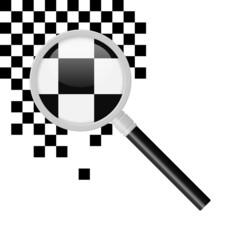 Fotobehang Pixel lupe v2 schachbrett schwarz weiss I