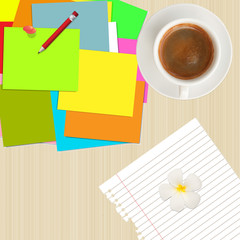 pile of colorful post it,pencil,paper and coffee cup on wood bac