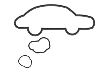 Black car shape speech bubble