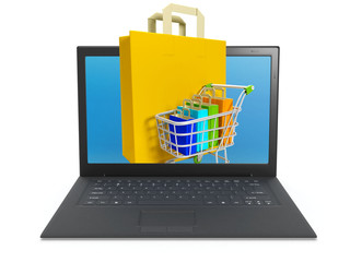 3d illustration: Buying over the Internet, online store