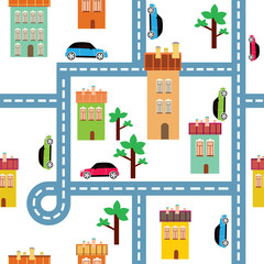 Spoed Fotobehang Op straat vector background of the city