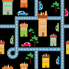 Printed roller blinds On the street vector background of the city