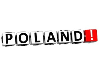 3D Poland Button Click Here Block Text