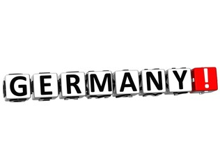 3D Germany Button Click Here Block Text