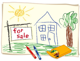 For Sale Real Estate Sign, Child's Crayon Drawing