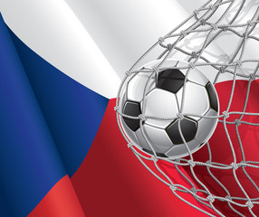 Soccer Goal. Czech flag with a soccer ball in a net.