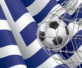 Soccer Goal. Greek flag with a soccer ball in a net.