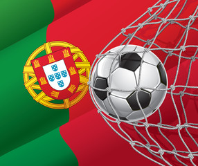 Soccer Goal. Portuguese flag with a soccer ball in a net.