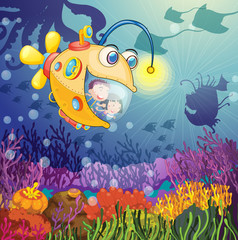 Poster Submarine monster fish and kids