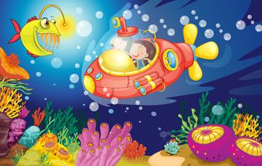 Wall Murals Submarine kids in water