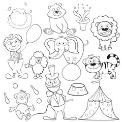 Coloring book with circus elements