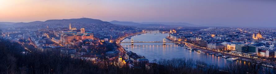 Printed kitchen splashbacks Budapest Panoramic view of Budapest at night, Hungary
