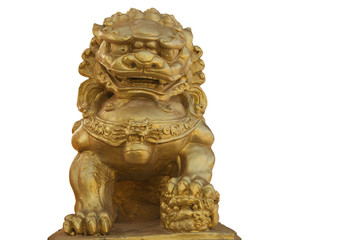 CLIPPING PART. Golden lion statue on white background