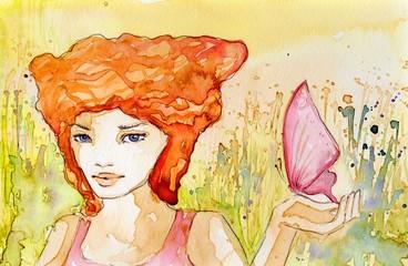 dziewczyna z motylem