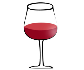 Illustration of red wine in glass isoltaed on white background