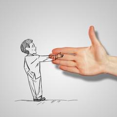 Man shaking human hand