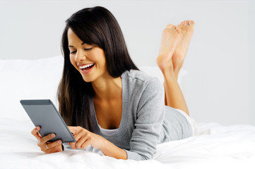 Computer tablet woman