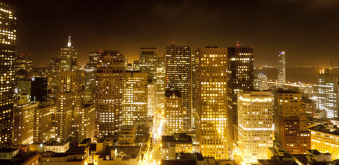 Photo sur Plexiglas San Francisco aerial of San Francisco by night