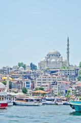 Cruise ferries in Eminonu Port near Yeni Cami in Istanbul