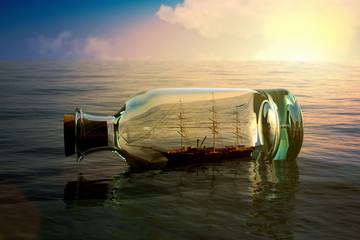 Ship in a bottle at sea concept