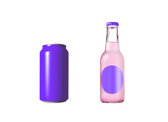 violet aluminum can with soda in glass bottle
