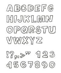Handwritten sans-serif alphabet, vector, EPS 8