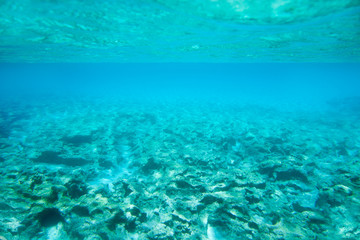 Ibiza Formentera underwater rocks in turquoise sea
