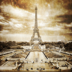 Wall Mural - Eiffel tower from Trocadero monochrome vintage