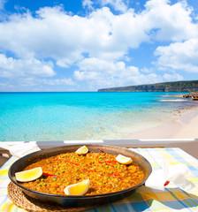 Paella mediterranean rice food in balearic islands