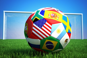 World of soccer,3d rendering of a soccer ball with goal
