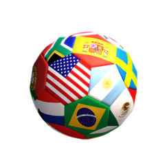 3d rendering of a Soccer or football with countries