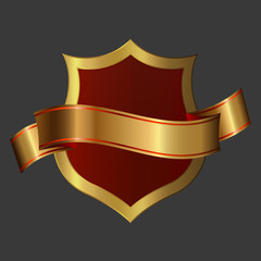 Golden shield and ribbon.