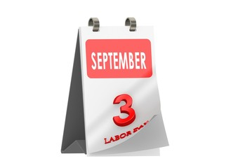 Calendar September 3, Labor day