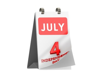 Calendar JULY 4, Independence Day of USA