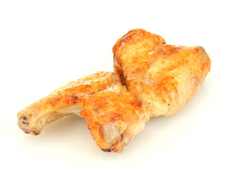 roasted chicken wings isolated on white