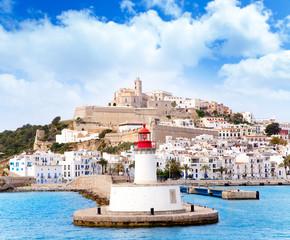 Fototapete - Eivissa ibiza town from red lighthouse red beacon