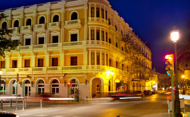 Eivissa Ibiza town night view with car traffic