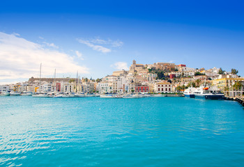 Wall Mural - Eivissa Ibiza town with church under blue sky