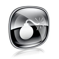 bomb icon black glass, isolated on white background.