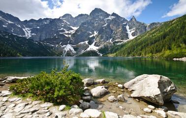 Fotobehang Alpen Morskie Oko lake in Tatra mountains, Poland