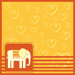 greeting card  with elefant