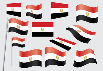 set of flags of Egypt vector illustration