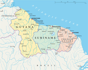 Guyana, Suriname and French Guiana political map with capitals Georgetown, Paramaribo and Cayenne, national borders, important cities, rivers and lakes. Illustration with English labeling. Vector.