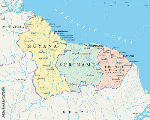 Guyana Suriname and French Guiana political map with capitals