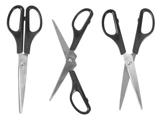 Open and closed scissors on a white background