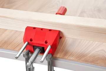 Red grip on the wooden table