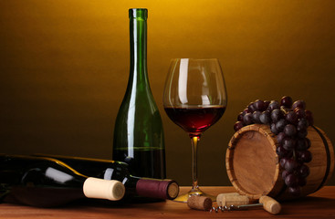 Obraz In wine cellar. Composition of wine bottles and runlet - fototapety do salonu