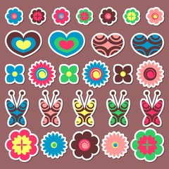 A set of cute colorful stickers