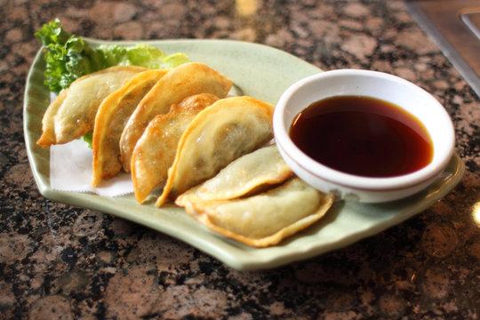 Korean style fried dumplings known as mandu