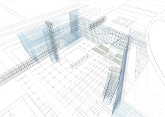 grattacieli wireframe architettura ingegneria
